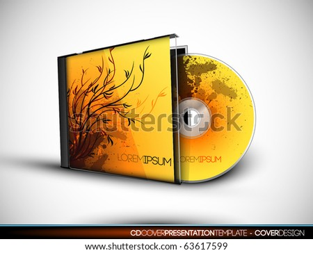 CD Cover Design with 3D Presentation Template | Everything is Organized in Layers Named Accordingly | To Change the Cover Design use the Cd and Cover Design Layers