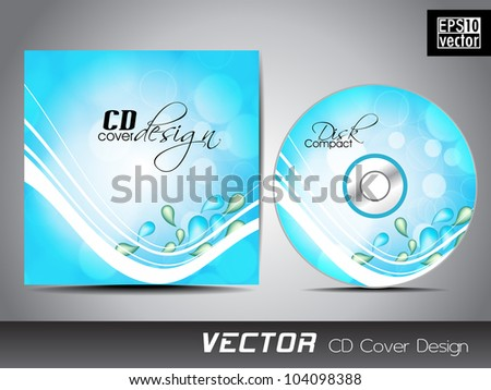 CD cover presentation design template, copy space  with water waves and water drops background, editable EPS10 vector illustration.