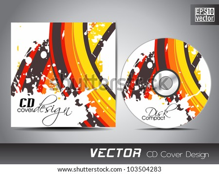 CD cover presentation design template with copy space and colorful wave on grunge effect, editable EPS10. Vector illustration.