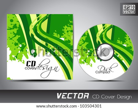 CD cover presentation design template with copy space and wave effect in green and yellow color on Eco concept, editable EPS10. Vector illustration.