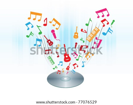 CD-DVD with colorful melody and music floating