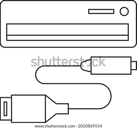 cd player, console, DVD, cd-rom and USB mini USB cable line icon. Computer parts. Pixel Perfect vector illustration. Stock fotó ©