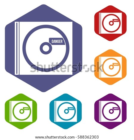 cd with danger lettering icons