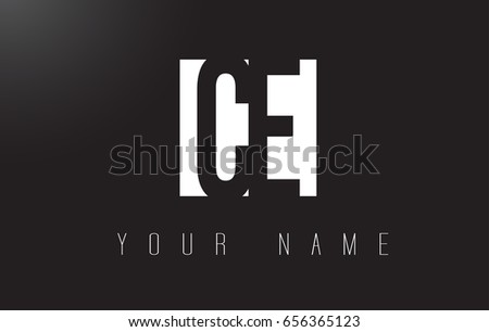 CE Letter Logo With Black and White Letters Negative Space Design.