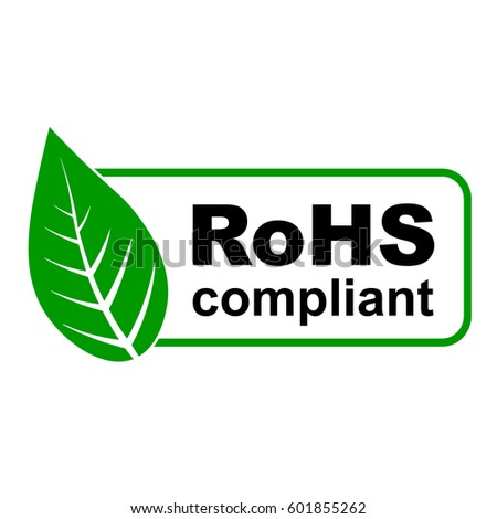 CE RoHS compliant sign with green leaf, vector illustration.