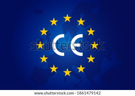 CE standard mark. Icon for products sold within the European Economic Area - EEA. Europe Union color, flag, stars sign. Vector CE European Conformity - logo. Blue background