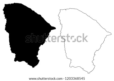 Ceara (Region of Brazil, Federated state, Federative Republic of Brazil) map vector illustration, scribble sketch Ceará map
