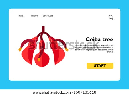 Ceiba tree flower vector icon. Cotton tree, tropical plant, Argentinian flora. Argentina concept. Can be used for topics like flora of South America, botany, tourism