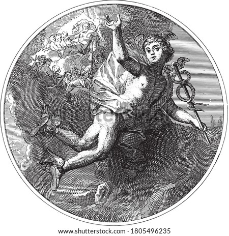 Ceiling piece with the god Mercury flying with the caduceus in his hand. In the background the gods of Olympus on the clouds, vintage engraving. ストックフォト ©