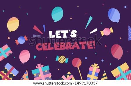 Celebrate background vector. Celebration web banner illustration