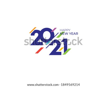 Celebrate Happy New Year 2021 Greeting Logo Design Template
