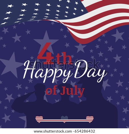 Celebrate Happy 4th of July - Independence Day. Congratulatory banner with combination of fonts. Flat vector illustration EPS 10 #654286432