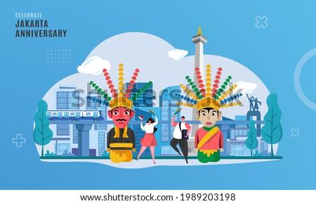 Celebrate Jakarta anniversary illustration with ondel-ondel mascot