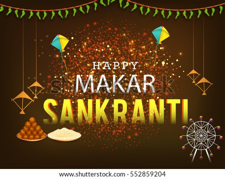 Celebrate Makar Sankranti greeting card background with colorful kite. #552859204