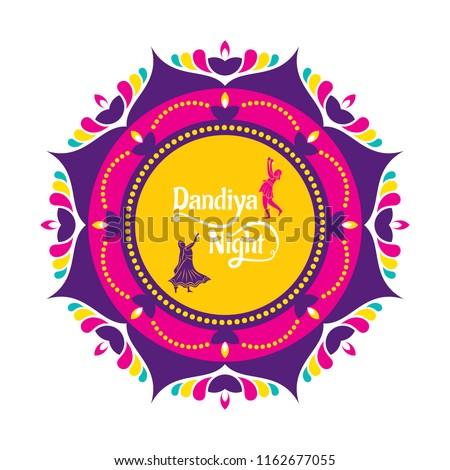 Celebrate navratri festival with dancing garba design vector illustration.