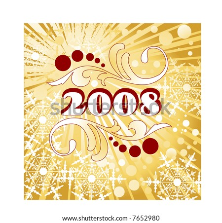 stock vector : celebrate 2008 tattoo filigree burst and snowflakes