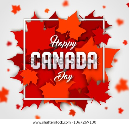 National holiday happy canada day greeting download free vector celebrate the national day of canada red canadian maple leaves with lettering happy canada day m4hsunfo