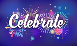 Celebrate, victory background, banner design, Fireworks and celebration background