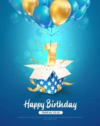 Celebrating first year birthday vector 3d illustration. 1 year anniversary and open gift box and number flying on balloons on blue background. One year celebration
