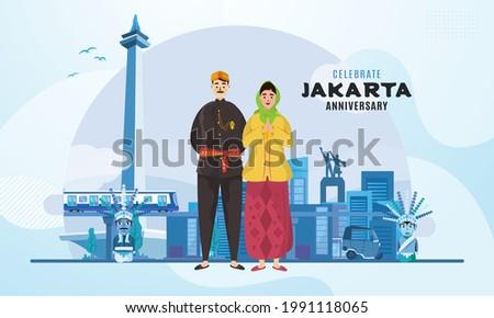 Celebrating Jakarta city anniversary illustration on banner background