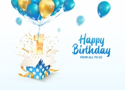 Celebrating of 1 st year birthday vector 3d illustration. First anniversary celebration. Open gift box with explosions confetti and number one flying on balloons on light background