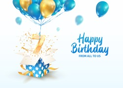 Celebrating of 7th years birthday vector 3d illustration. 7 years anniversary and open gift box with explosions confetti and number seven flying on balloons