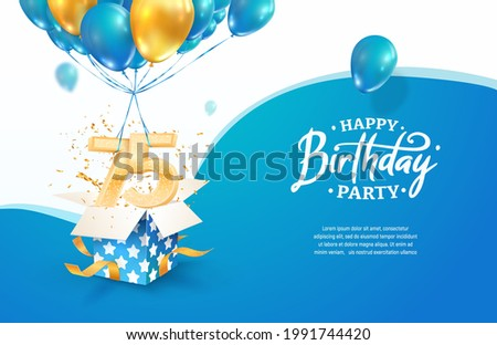Celebrating 75th years birthday vector illustration. Seventy five anniversary celebration. Adult birth day. Open gift box with numbers three and eight flying on balloons