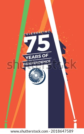 Celebrating the 75th year of India's Independence. Creative design for posters, banners, advertising, etc. Happy Independence Day. eps10. editable