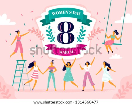Celebrating womens day. Eight march celebration, happy laughing woman and international female holiday. Girl power day postcard, ladies 8 march feminism party vector flat illustration