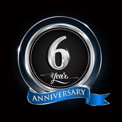 Celebrating 6 years anniversary logo. with silver ring and blue ribbon.