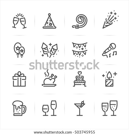 Celebration and Party icons with White Background
