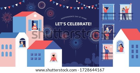 Celebration at home with neighbors. People standing on balconies, looking out of windows. Fireworks, independence day in the city.