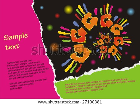 Celebration background. Poster with color traces of hand on a black background. (vector illustration)