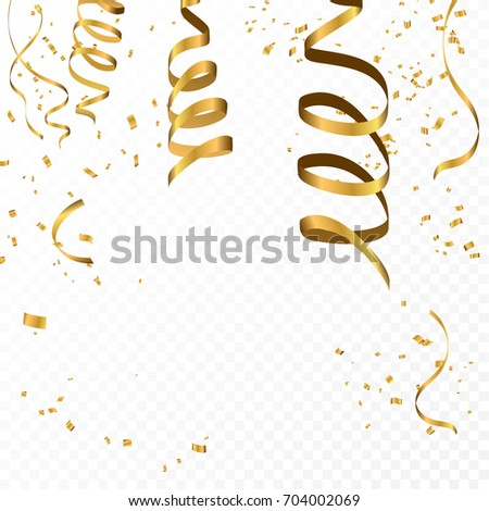Celebration background template with confetti and gold ribbons.