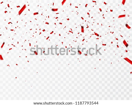 Celebration background template with confetti and red ribbons. luxury greeting rich card.