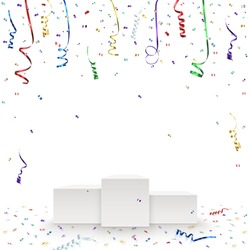 Celebration background template with pedestal, confetti and colorful ribbons. Vector illustration