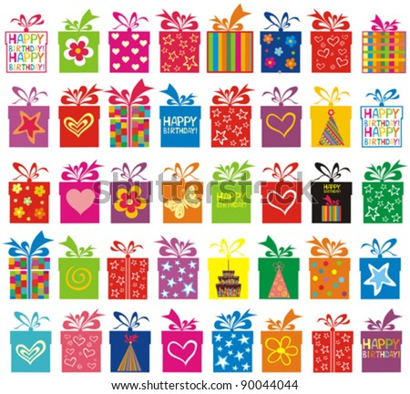Celebration background with Birthday gift boxes. Seamless pattern.  vector illustration