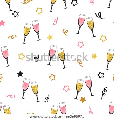 party and holiday celebration concept celebration background with champagne glasses seamless christmas or new year vector pattern