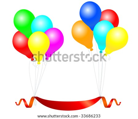 celebration balloons with banner. Vector illustration.