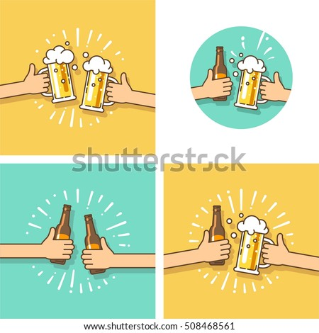 Celebration. Beer festival. Two hands holding the beer bottle and beer glass. Vector illustration in flat style.