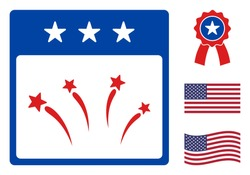 Celebration calendar day icon in blue and red colors with stars. Celebration calendar day illustration style uses American official colors of Democratic and Republican political parties,