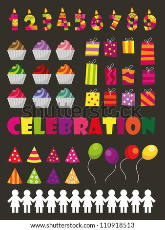 Celebration , celebration icons, celebration images including cake, cupcake, candle, party hat , balloon and party decoration, ideal for birthday party