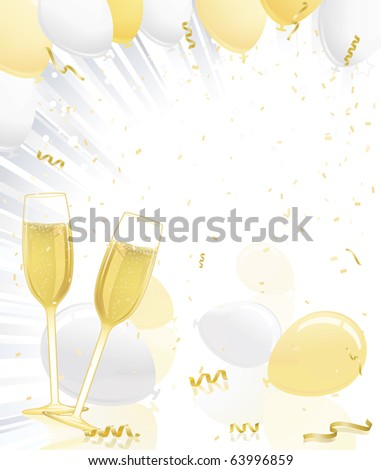 Celebration Champagne Glasses, Gold And Silver Balloons, Ribbons