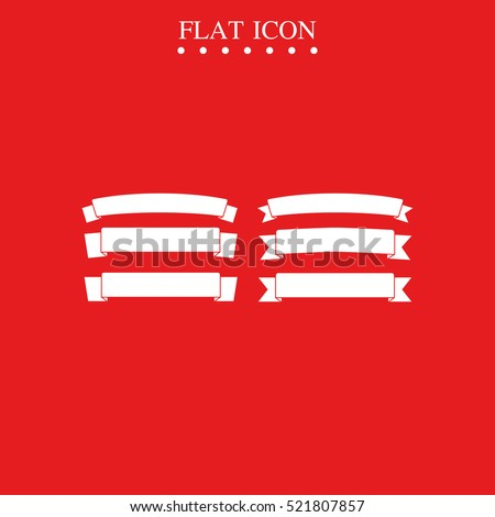 Celebration curved ribbons isolated on red background. Ribbon banner vector icon. Anniversary illustration. #521807857