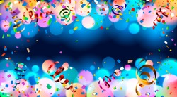 Celebration. Dark blue holiday background with colorful shining bokeh and serpentine.10 EPS