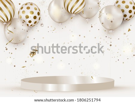 Celebration design with white helium balloons on a white podium.  Scene mockup. Anniversary. Happy birthday greeting card, template for sales, promotion, invitation.Vector.