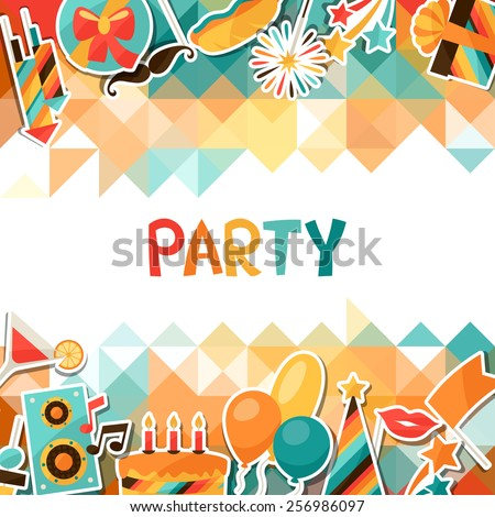 Celebration festive background with party sticker icons and objects. #256986097
