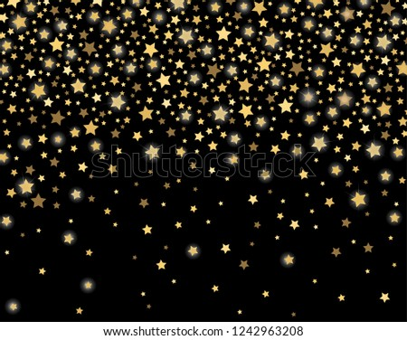 celebration golden stars confetti abstract festive sparkling garland shiny magical winter black background christmas
