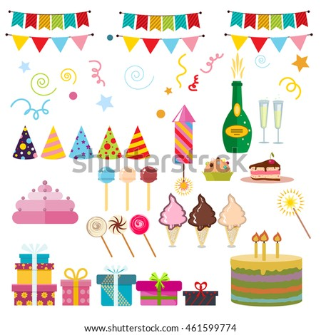 Celebration Happy Birthday Party Symbols Carnival Festive Vector Set