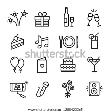 Celebration icons set, can be used to illustrate topics like parties, birthday celebration, family events